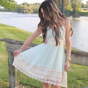 Chicwish Got A Date Lace Mint Dress